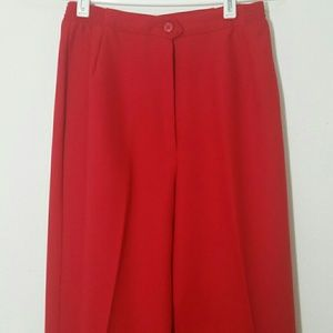Leslie Fay Pants straight leg red high waisted